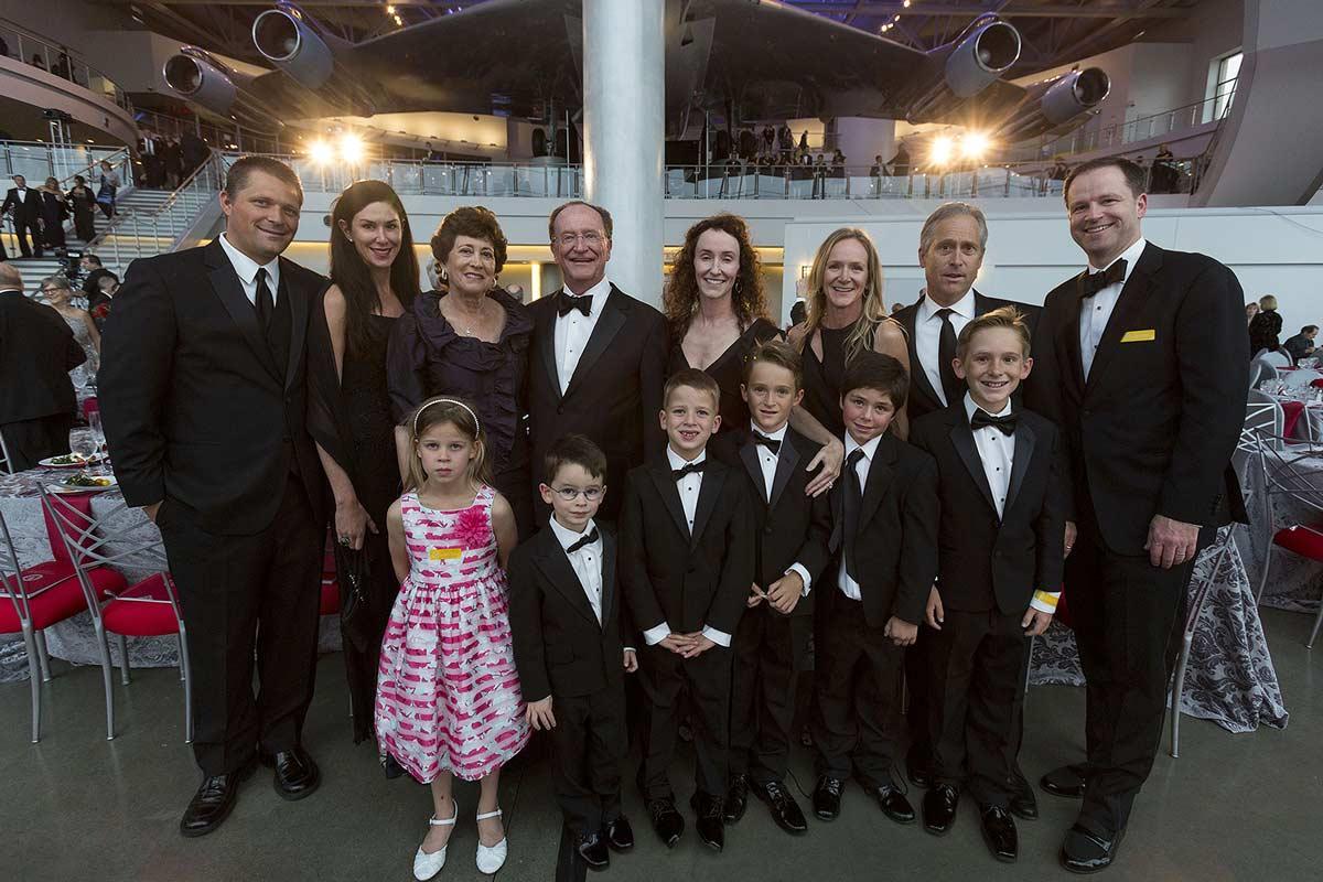 President Rush with his family at the tribute event.
