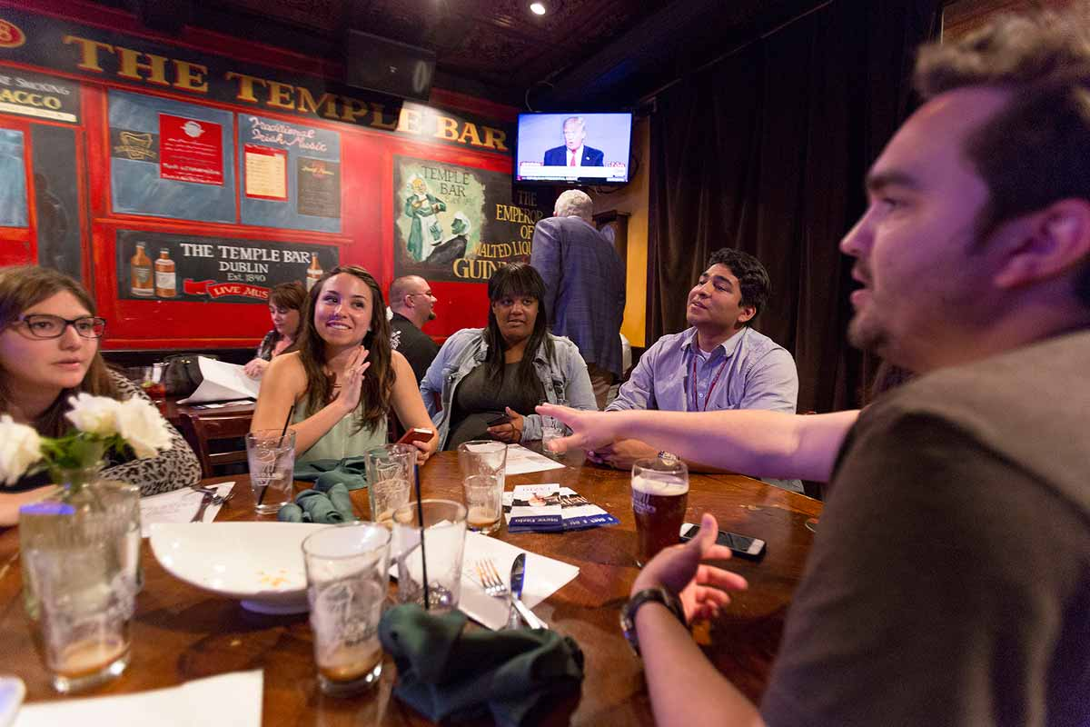 CI Republicans talk and tweet during a viewing party for a Republican debate.