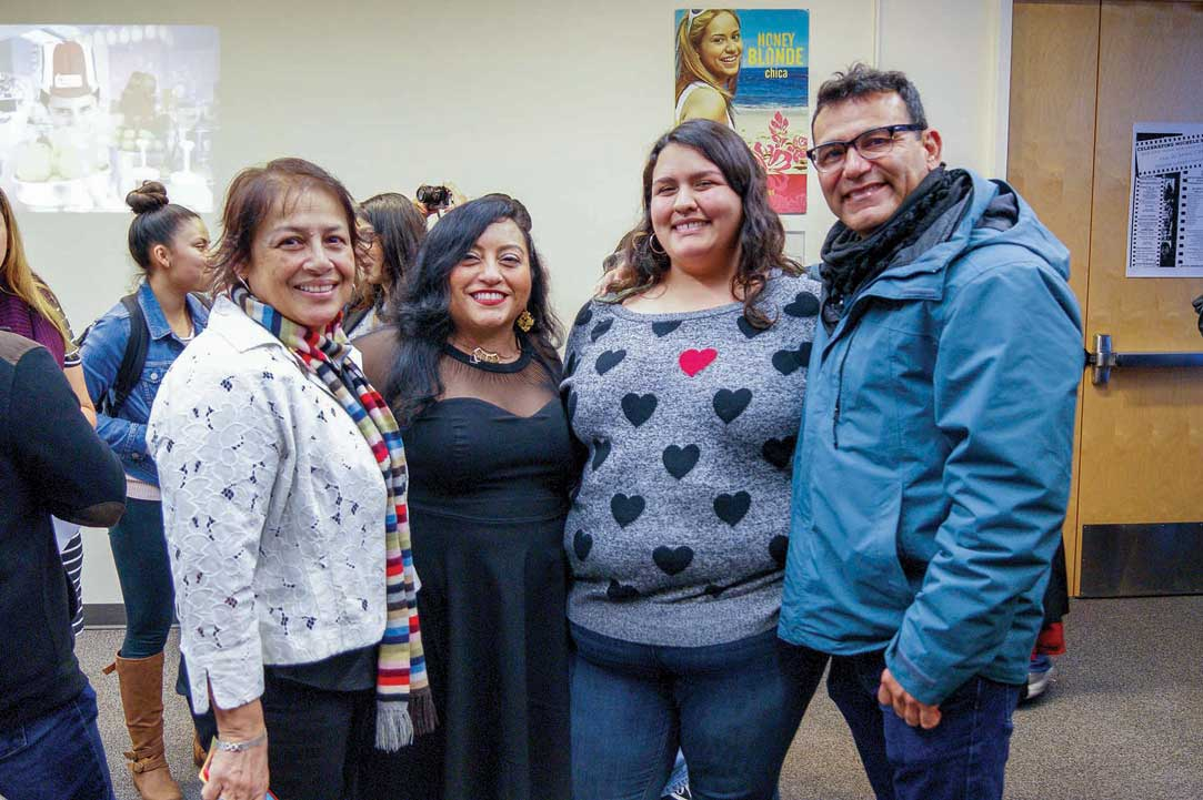 From left to right: Renay Garcia, Professor Jennie Luna, Rebecca Marquez, and Antonio Magaña