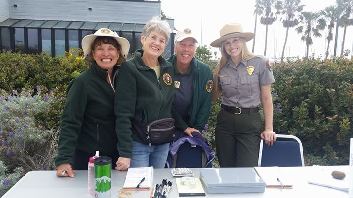 On left: Channel Islands National Park Volunteers Barbara Hilburn, Carol Kurtz,  Kelle Green with Lauren Boross at the Channel Islands Native Plant Sale in 2016.