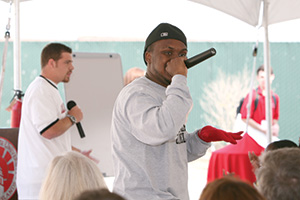 chris powell and jeffery alexander welcome new students with a channel islands rap