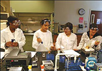 a group of students in lab holding different devices