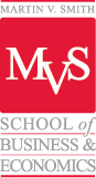 logo for martin v. smith school of business and economics.