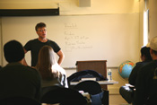 tim miller teaching performance arts class at csuci.