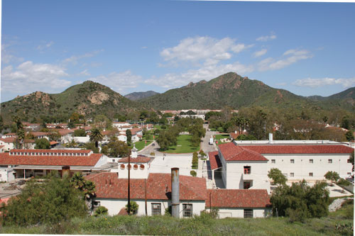 view of campus from well on hillside above science building.