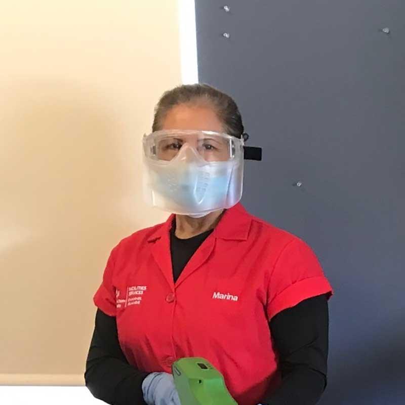 Custodial staff in full PPE
