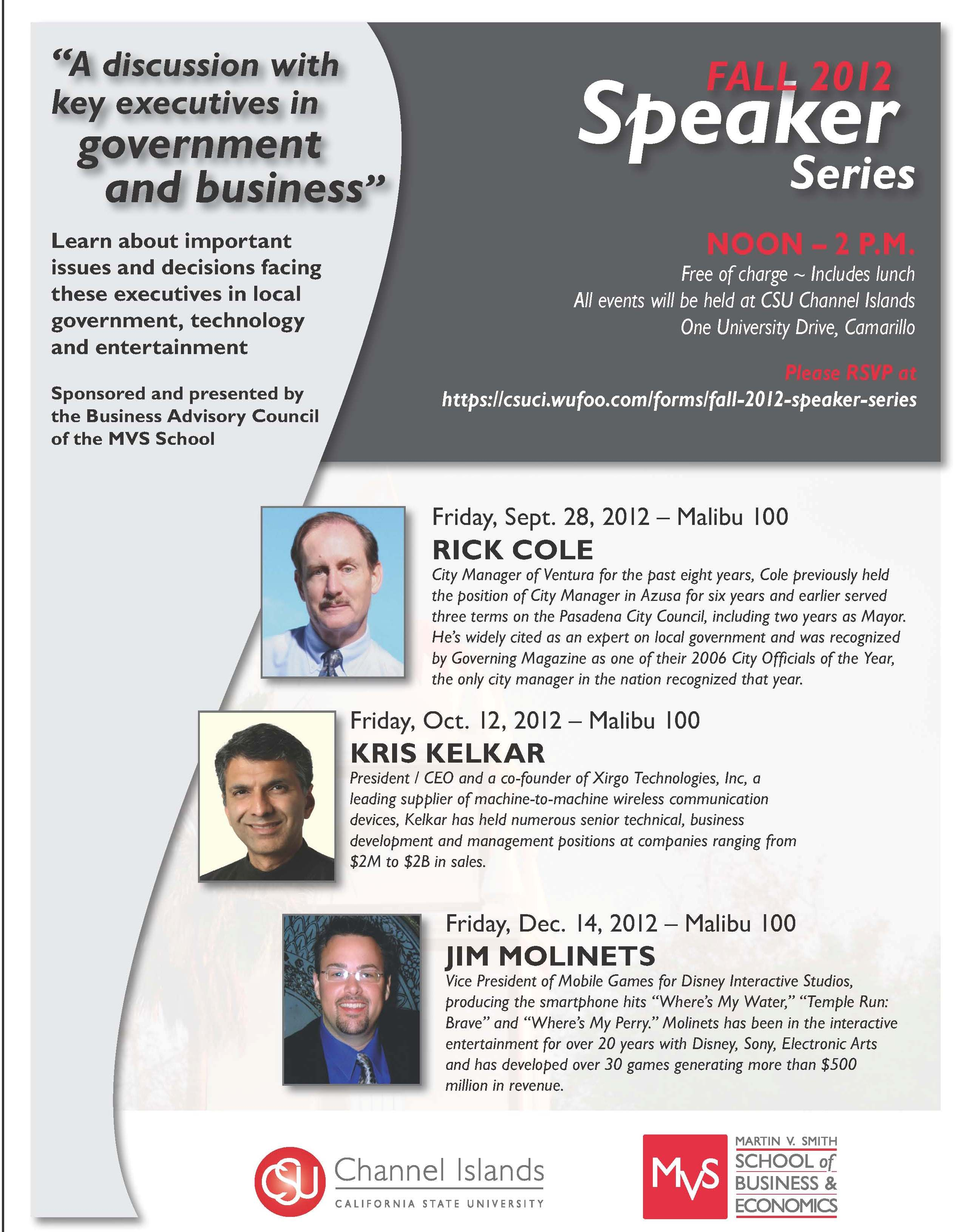 Fall 2012 MVS Speaker Series