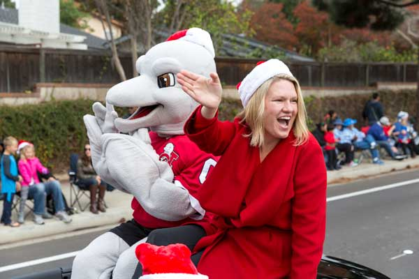 President Beck Enthusiastically Greets Spectators at the Camarillo Christmas Parade