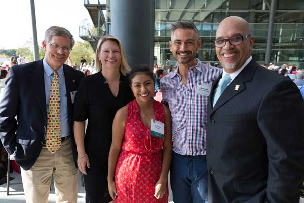 Scholarship Recipient Cristina Jimenez Poses with Provost Wakelee, President Beck, Professor Jimenez Jimenez and Vice President Sawyer at the 2016 Scholarship Reception