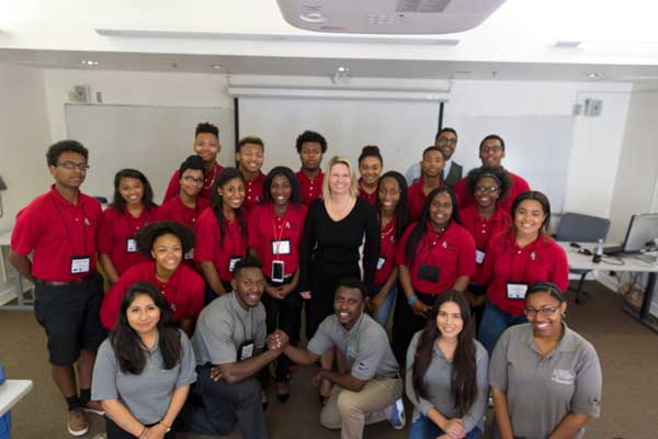 President Beck Poses with CI Students at the 2016 African American Enrichment Academy