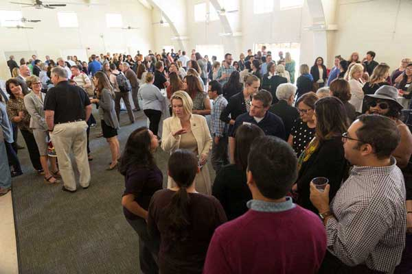 Grand Salon is full of eager and excited CI community members during the All Campus Welcome Reception honoring Dr. Erika Beck.