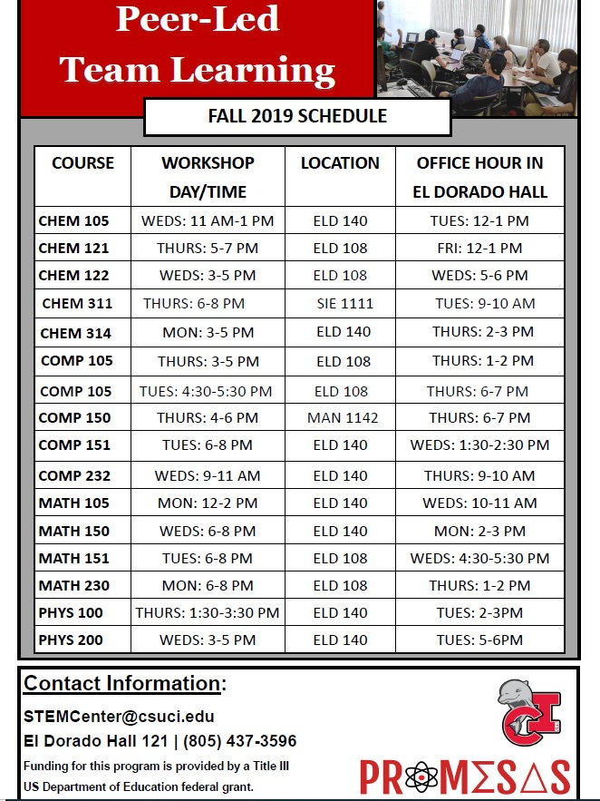 Fall 2019 PLTL Schedule of Workshops and Office Hours