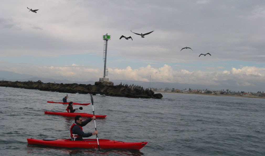 Students kayaking along the coast outside Channel Islands Harbor