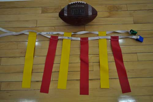 Football and two sets of flags
