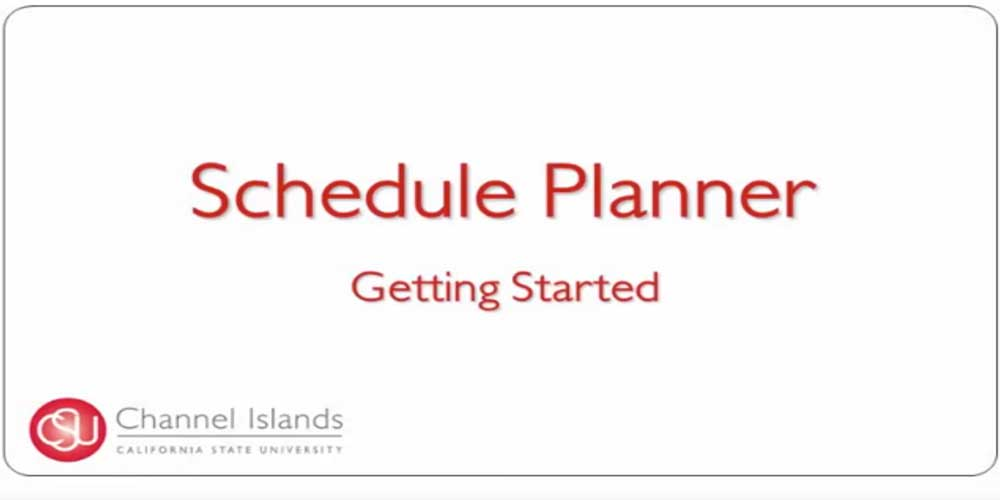 Schedule Planner Getting Started