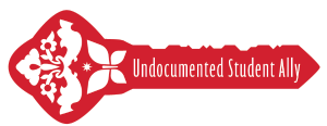 "Red key with butterfly symbol that states ""Undocumented Student Ally"""