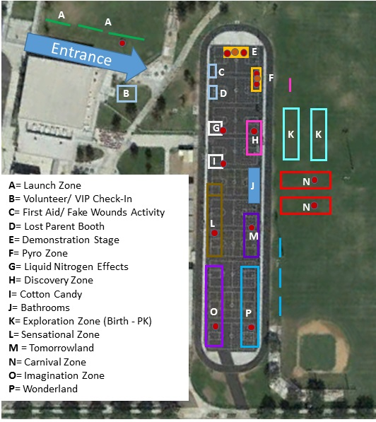 site map for 2018 Science Carnival