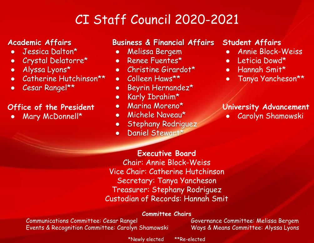 Names of the 20-21 staff council