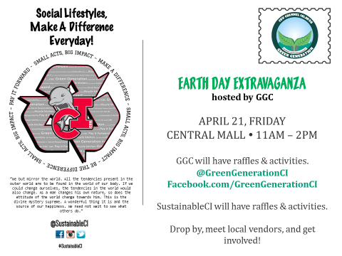 SustainableCI Postcard - Earth Day Extravaganza 2017