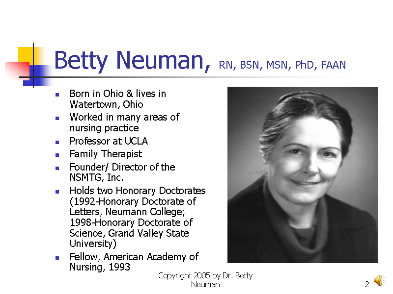 betty neumans systems model diagram Betty neuman's systems model provides a comprehensive holistic and system- based approach to nursing that contains an element of flexibility the theory.