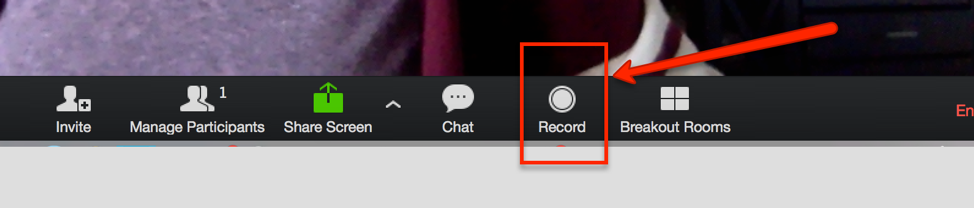 Record button in standard meeting view