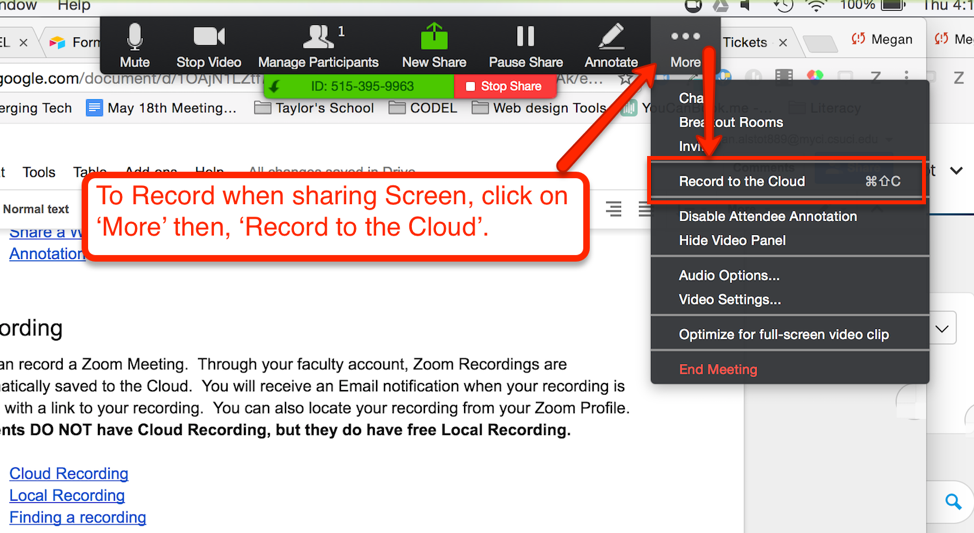 To record when sharing screen, click More and then click Record to the Cloud