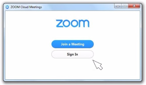 Zoom sign in screen