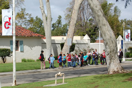Photo of students on a 45-minute guided tour of CI.