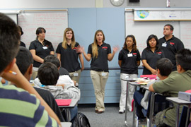 Photo of CI Communication 101 students visiting a local classroom.